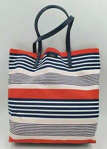 Kate Spade Bon Shopper Red White Blue Pink Striped Canvas Tote Bag Purse Gift
