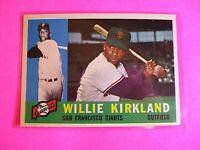 1960 TOPPS baseball Set Break #172 Willie Kirkland Giants, NmMt High Grade
