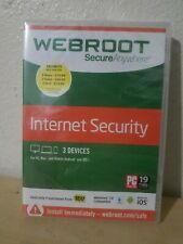 WEBROOT SecureAnywhere Internet Security Windows 10 Compatible 3 Devices