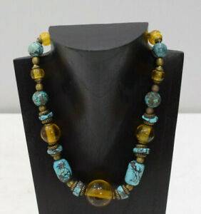 Necklace Chinese Turquoise Gold Beaded Necklace