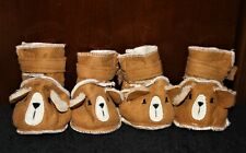 New listing Set of 4 Sherpa Bear Booties Shoes for Dog Teddy Bear Boots Size Medium Top Paw