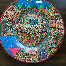 """hand painted pottery multi color wedding scene decorative 12"""" plate Mexican"""