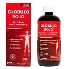 Globulo Rojo Liquid Dietary Supplement, B Vitamins and Iron 16 FL  OZ  Exp. 7/23