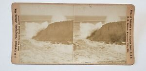 Antique OREGON COAST Surf Cape FOULWEATHER JG Crawford 1880s Stereoscopic view