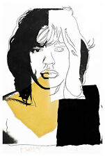Mick Jagger III A1 by Andy Warhol High Quality Canvas Art Print
