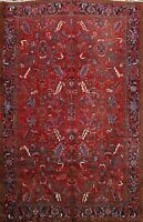Vintage All-Over Geometric 8x10 Heriz Classic Red Area Rug Hand-Knotted Oriental