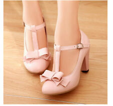 Girl Womens Kitten Hight Heel T Strap Bar Mary Jane Vintage Pump Plus Size shoes