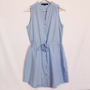 French Connection Chambray Blue Cotton Sleeveless Shirt Dress Womens Size 10