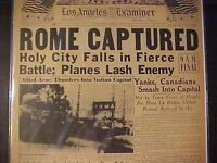 VINTAGE NEWSPAPER HEADLINE ~WORLD WAR 2 NAZI ARMY ITALY ROME CAPTURED WWII 1944