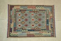 7'x5'1 Handmade Flat Weave Afghan Kilim Tribal Wool Area Rug Kelim Carpet #4418