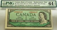 ASTERISK SERIAL NUMBER *C/F 1954  BANK OF CANADA  $1  PMG 64