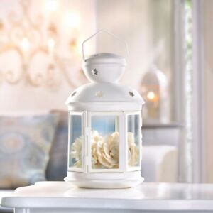 10 Small White Candle Lanterns w/ Clear Glass & Star Cutouts Colonial Style