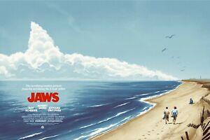 "JAWS 1975 repro quad poster alternate art custom 30x40"" FREE P&P  Spielberg"