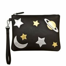 ILI LEATHER Zip Wristlet Clutch Pouch ~ Black with Gold + Silver Heavenly Bodies
