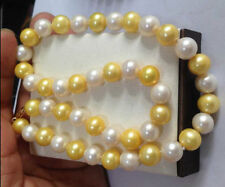"18"" HUGE NATURAL SOUTH SEA 11-12MM WHITE GOLDEN PEARL NECKLACE 14K GOLD CLASP"