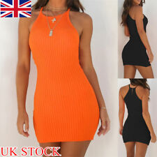 Womens Plain Knitted Frill Halter Neck Ribbed Ladies Strappy Bodycon Mini Dress