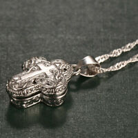 Hollow-out 925 Silver Magnet Cross Pendant Necklace Chain Women Fashion Jewelry