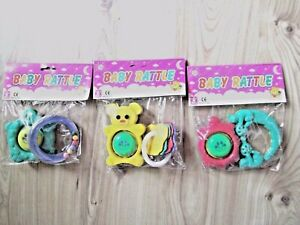 BABY PACK 2 RATTLES GIFT SET COLOURFUL TEETHER TOY BEAR KEY RING RATTLE 3+ Month