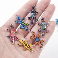 10Pcs/Set Mixed Random Color Gecko Connectors Charm DIY Necklace Making Jewelry