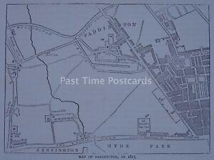 London PADDINGTON MAP inc REGENT CANAL c1840 Original Print 1878
