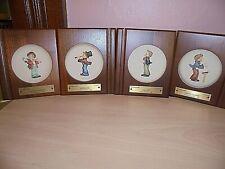 """Set of 4 """"Little Music Makers"""" Goebel M.J. Hummel Framed Mini Collectors Plates"""