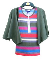 Marks & Spencer Green Striped Twinset Set  Age 7 in Pure Cotton