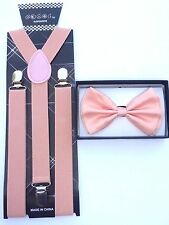 New Wedding Accessories Blush Pink Peach Men's Bow Tie & Suspender & Bow Tie Set