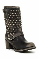 NEW Frye Vera Disc Black Leather Moto Biker Boots Shoes Women Size 5 $378