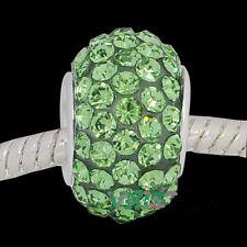 European Style Charm Bead with Green Rhinestones-   FREE BRACELET OFFER!