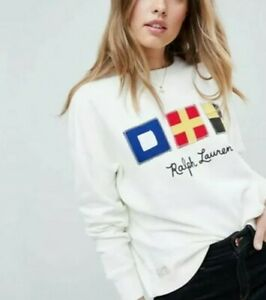 RALPH LAUREN POLO RUSTIC NAUTICAL RETRO SPELL OUT FLAG SWEATSHIRT XS S LOOSE FIT