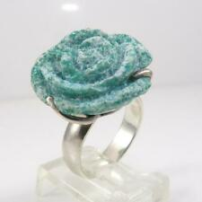Barse Sterling Silver Blue Turquoise Carved Rose Flower Ring Size 6 LFK3