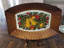 "Vintage Japan Oblong Basket Weave Serving Tray with Painted Fruit Unique! 10"""
