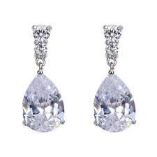 Women White Gold Plated Sapphire Gemstone Drop Dangle Earrings Wedding Jewelry