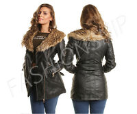 WOMENS Ladies Long BELTED BIKER JACKET FAUX Leather FUR COLLAR Black 8 10 12 14