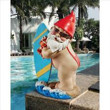 Surf Board Gnome Sculpture Statue Flower Bed Pool Porch Garden Balcony Surfer