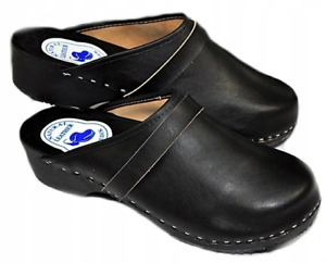 Herren schwarze Leder Schweden Holz Clogs Holzschuhe Pantoletten Sandalen 40-46