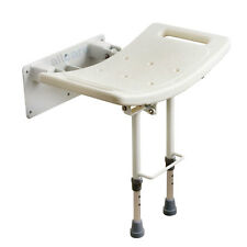 Wall Mounted Folding Shower Seat Chair With Fold up Drop Down Adjustable Legs
