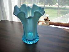 """Carnival blue opalescent vase Jefferson 1906 """"Lined Heart"""" pattern"""