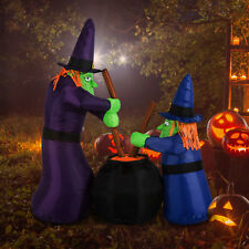 6FT Halloween Inflatable Airblown Bubble Witches w/ Cauldron Lighted Yard Decor