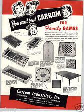 1948 PAPER AD Carrom Industries Inc Drive 'N Putt Spin Bowl Fox Hunt Hockey