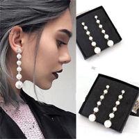 Women Elegant Big Pearl Long Tassel Drop Dangle Earrings Crystal Stud Jewelry
