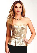 NWT bebe gold sequin sparkly bustier strapless peplum bustier dress top XXS 00 0