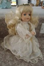 "Porcelain Doll Praying Angel Guardian Ivory Dress Blonde Hair Kneeling 9"" Cross"