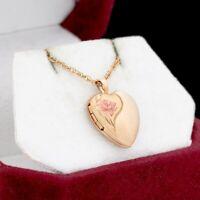 Antique Vintage Deco 14k Gold Filled GF Sweetheart Enamel Locket Necklace 2.2g