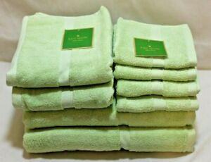 Kate Spade Eight Piece Bathroom Towel Set Solid Apple Green 100% Cotton New