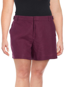 Lord & Taylor Womens Shorts Mulberry 100% Linen Plus Size 24W
