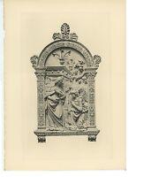 ANTIQUE ANNUNCIATION OF THE VIRGIN MARY ANGEL CHERUBS DUJARDIN ENGRAVING PRINT