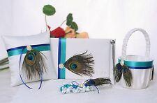 Peacock Feather Wedding Guest Book pen Ring Pillow Basket  Garter Set N6
