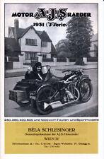 AJS - Motorräder Programm  -  Prospekt - 1931 -  Deutsch - nl-Versandhandel