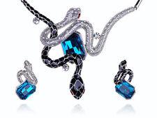 Blue Sapphire Enamel Snakes  Crystal Rhinestone Necklace Earring Set